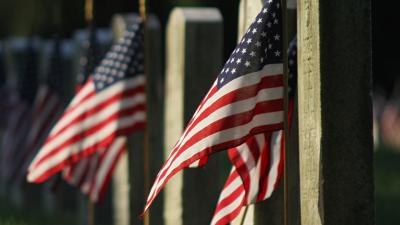 Flags next to headstones