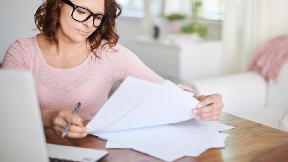 Woman looking over her family's finances