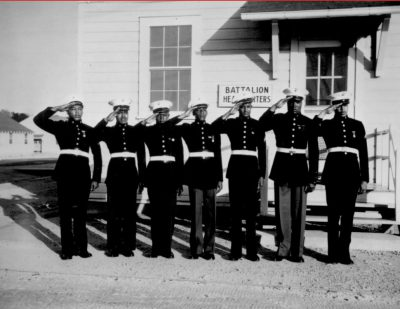 A group of the Montford Point Marines in dress blues