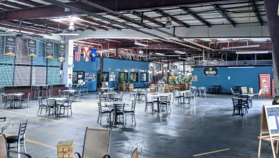 Empty taproom at Due South Brewery