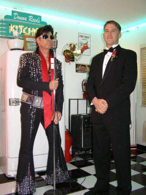 Military elopement ceremony with Elvis impersonator