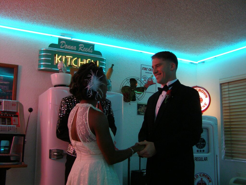 Military Spouse saying vows at a Vegas elopement ceremony