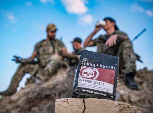 Three servicemembers enjoying Alpha Coffee, a Veteran-owned coffee company