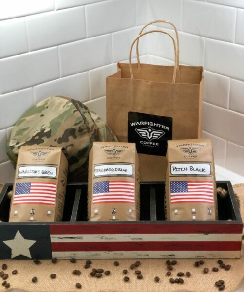 Warfighter Coffee Company Warrior's Brew, Standard Issue, and Pitch Black coffee