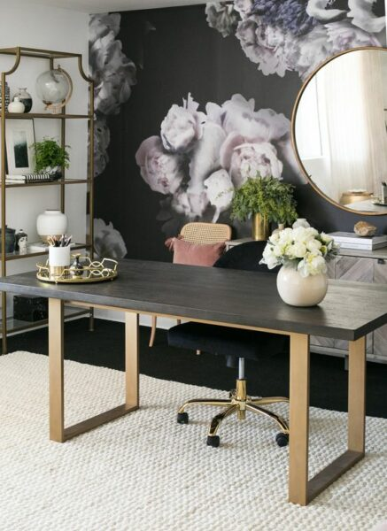 Home Office with Bold Wallpaper