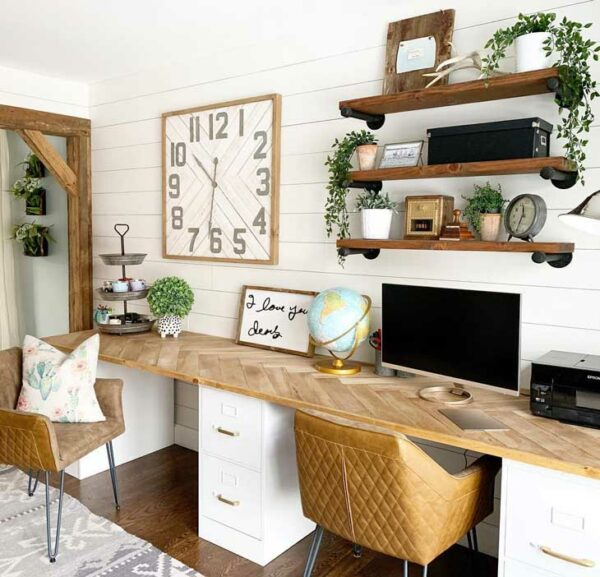 Farmhouse-Inspired Home Office Space